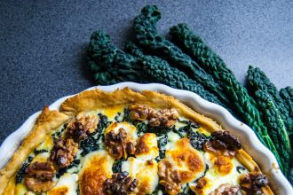 Tuscan kale pie with goat cheese and walnuts